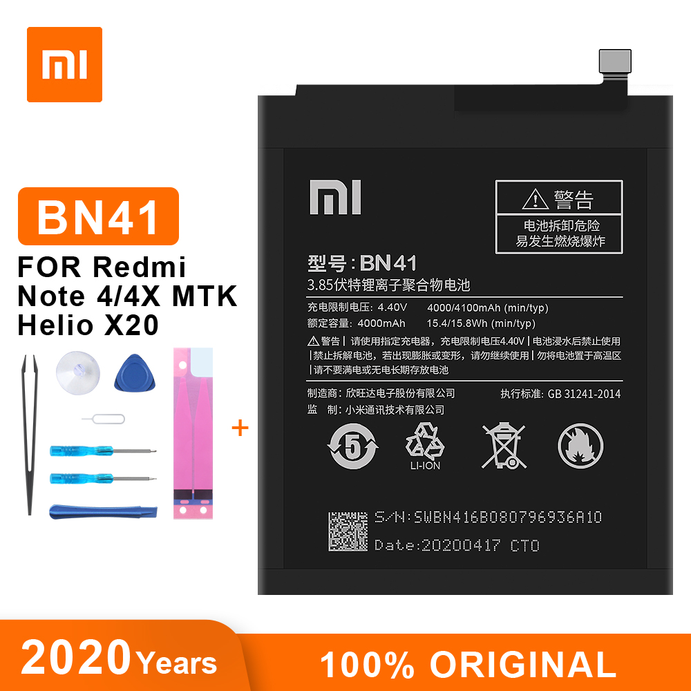 Оригинальный аккумулятор Xiao Mi BN41, 4100 мАч для Xiaomi Redmi Note 4 Hongmi Note 4 / Note 4X MTK Helio X20, сменные батареи для телефона