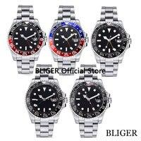 Marca de luxo bliger 40mm mostrador preto gmt função aço inoxidável banda cristal safira movimento automático relógio masculino
