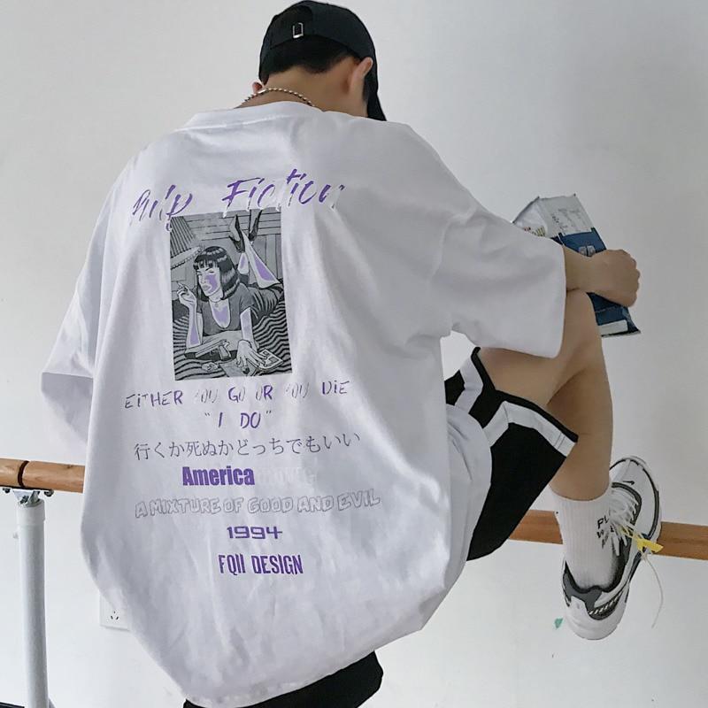 2020 летняя новая молодежная Популярная свободная футболка с коротким рукавом с принтом сзади Модный повседневный пуловер с круглым вырезом Белый/Черный S XL|Футболки|   | АлиЭкспресс