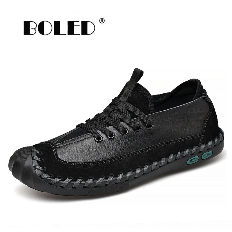 New High Quality Men Shoes Split Leather Lace Up Casual Shoes Plus Size Driving Shoes Men Breathable Loafers Moccasins