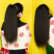 Clip-Ins Straight Ponytail Drawstring Afro Kinky 100%Human-Hair-Extensions Thick Ombre