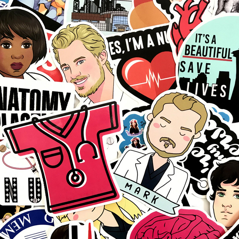 50pcs TV Show Greys Anatomy Funny Scrapbooking For Luggage Laptop Phone Decals DIY Album Car Decor Stickers