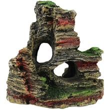1pc Fish Tank Landscaping Ornamental Rockery Simulation Resin Aquarium Decoration Mountain Hiding Cave Pet Supplies 40