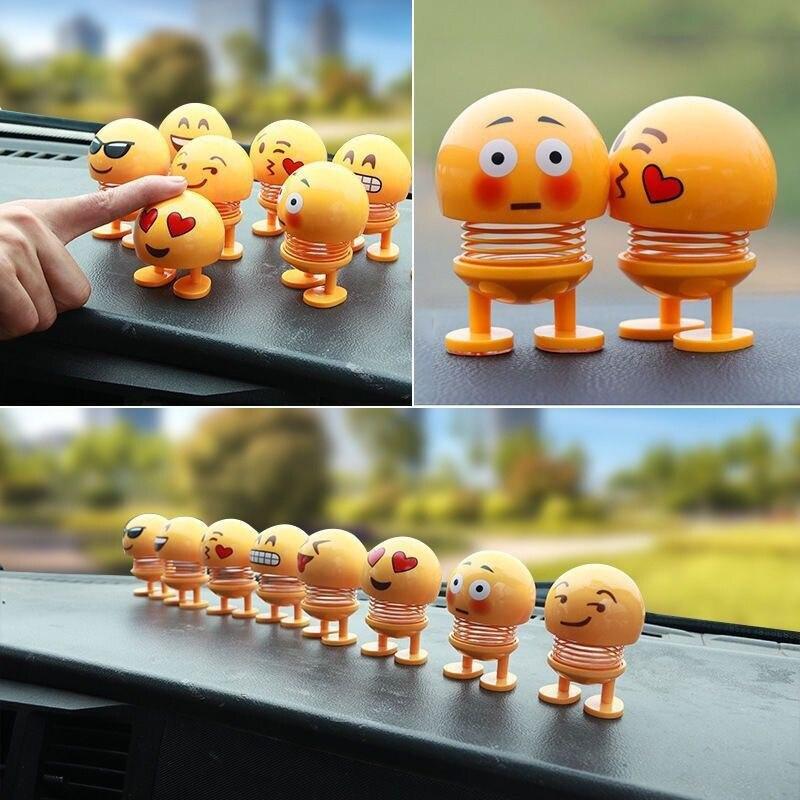 Car Decoration  Ornament Dolls Cute Cartoon Funny Wobble Head Robot Lovely Car Dashboard Interior Decor Auto facial expression