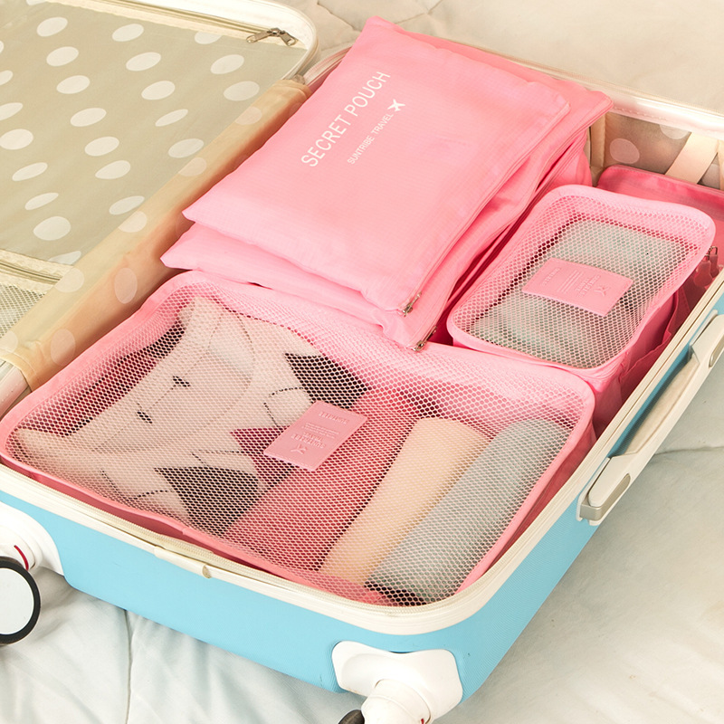 Polyester Mesh 6Pcs Set Duffel Bag Travel Organizer Luggage Bag Portable Suitcase And Travel Bags Luggage Organzier Bags Pink
