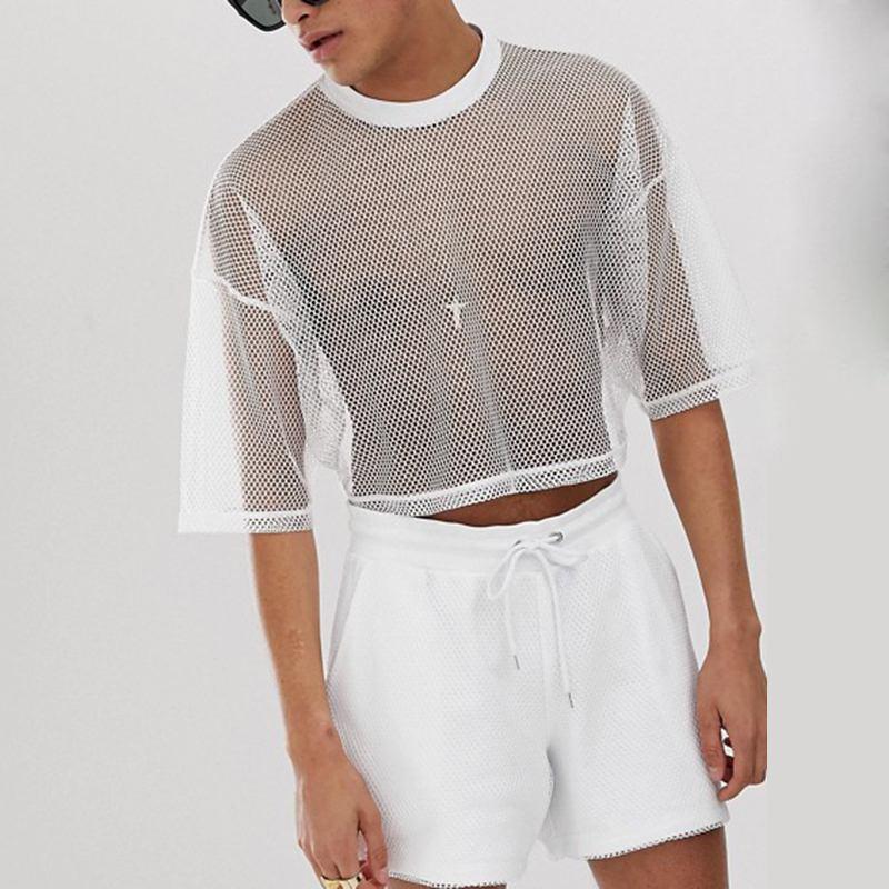 INCERUN erkekler örgü T Shirt şeffaf Streetwear O boyun kısa kollu mahsul Tops katı rahat 2020 moda nefes erkek t-shirt