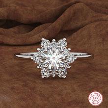 Anel luxuoso de prata esterlina 925, feminino, floco de neve, moda feminina, cristal, pedra de zircônia, anel de casamento vintage, anéis para mulheres