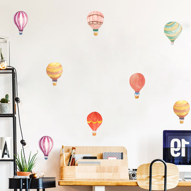 Colorful Hot Air Balloon Wall Stickers for Party Decoration Kids Room Living Room Bedroom Art Design Stickers Wall Decal PVC