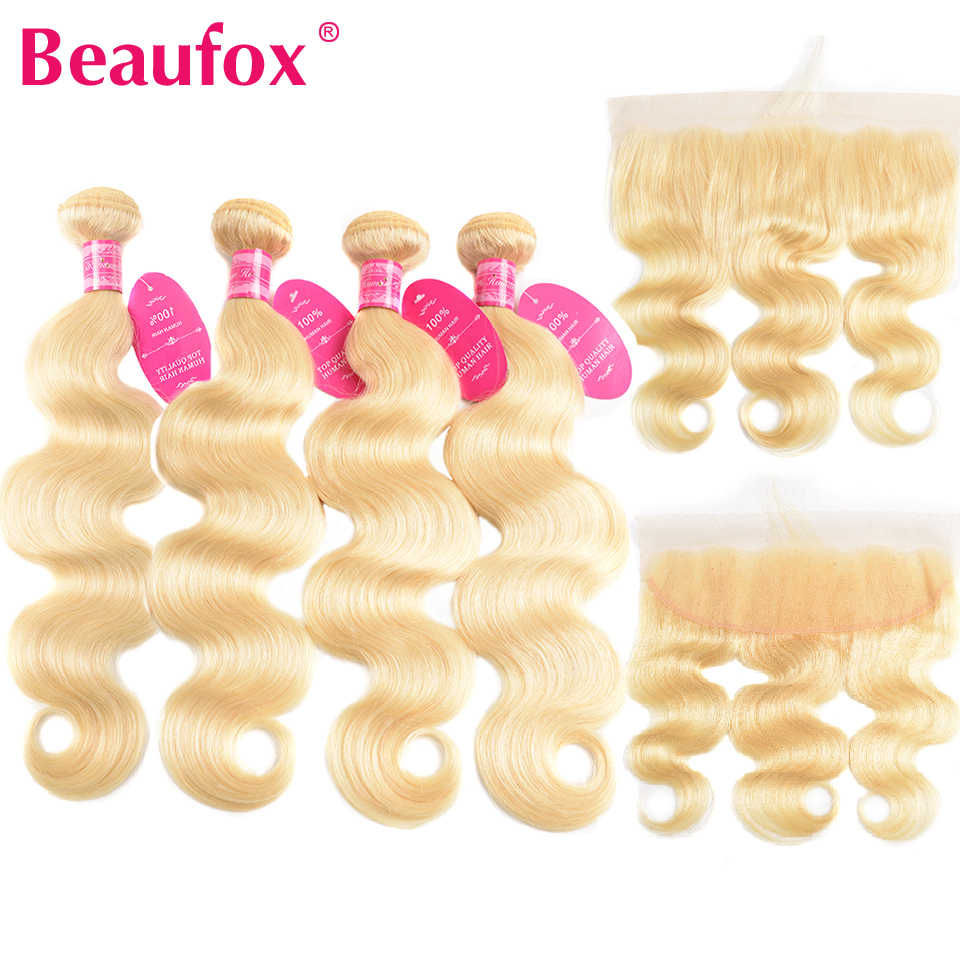 Beaufox 613 Blonde Bundles With Frontal Peruvian Body Wave Human Hair 4 Bundle With Frontal Closure 13x4 Remy 613 hair Extension