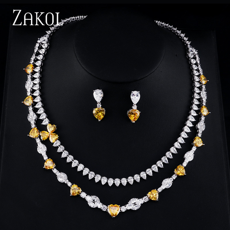 ZAKOL Luxury Zircona Women Jewelry Sets multi-layer Flower Shape Necklace Earrings Set For Women Party FSSP384