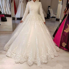 2020 Muslim Wedding Dresses With High Neck Appliques Lace Long Sleeves Arabic Women Bridal Gowns Vintage Dubai Wedding Vestidos