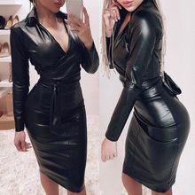 Seksi iç çamaşırı kadın Porno derin v yaka seksi iç çamaşırı uzun kollu elbise erotik PU deri Babydoll siyah parti giyim kemer sıcak