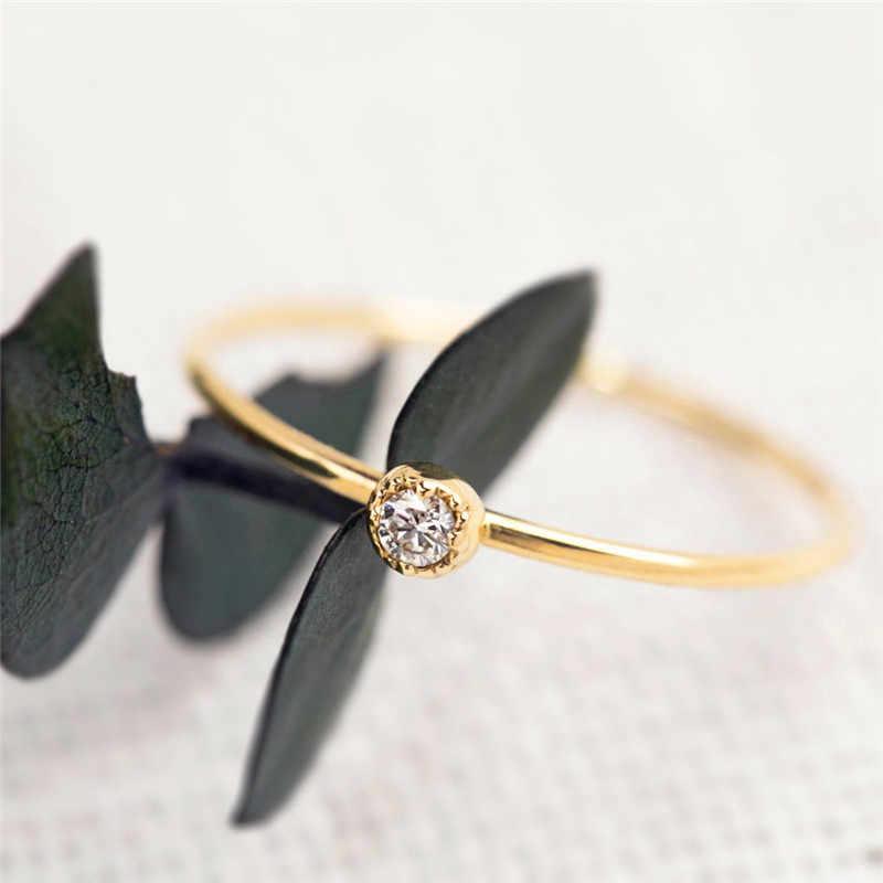 Minimalist Rose Gold Silver แหวนแฟชั่นหญิงเล็กๆสีขาว Zircon แหวนคลาสสิกหมั้นแหวน