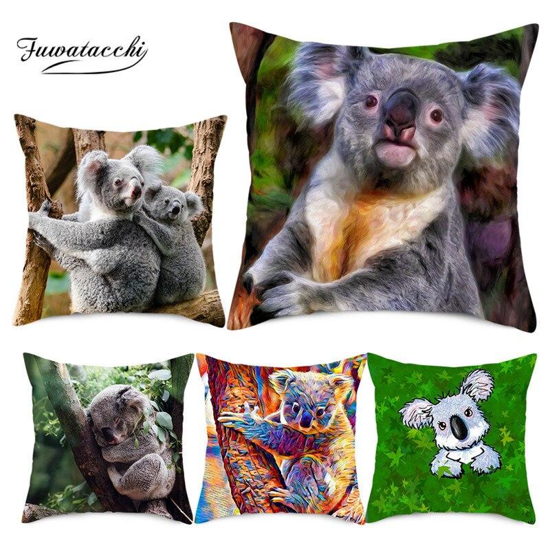 Fuwatacchi Animal Cushion Cover HD Koala Panda Printed Pillows Cover Polyester Pillowcase For Home Sofa Decorative Pillows 45*45