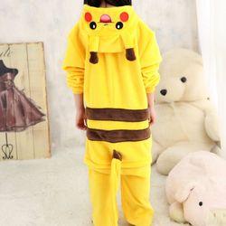 Warm Kids Hooded Pajamas Animal Onsies Flannel Children's Sleepwear Yellow Anime Tail Pijamas For Girls Boys Nightgown Cosplay