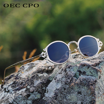 new cateye street shoot man sunglasses women retro steampunk glasses gothic oval Metal frame carved Gafas sol mujer