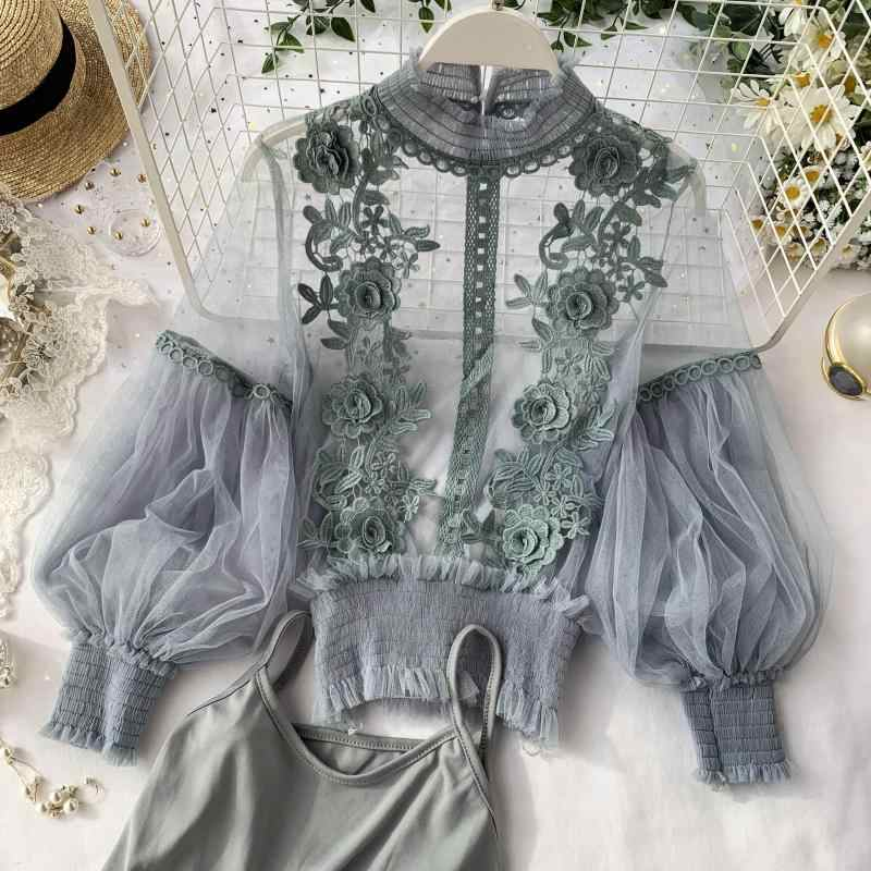 2019  Autumn Women Tops Fashion Sexy Sheer Lace Blouse Lantern Sleeve 3D Floral Blouses Shirts Elegant Top Blusas Femininas