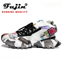 Fujin Sock Shoes Platform Women Sneakers Chunky Knitting Comfortable Ins-Style Hot-Sale