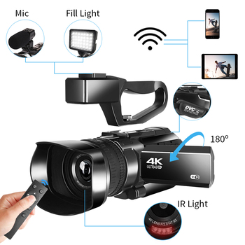 4K Video Camcorder 48MP WIFI 30X Digital Zoom 3.0 Inch Ultra HD Touch Screen Recorder Photography Digital Video Camera