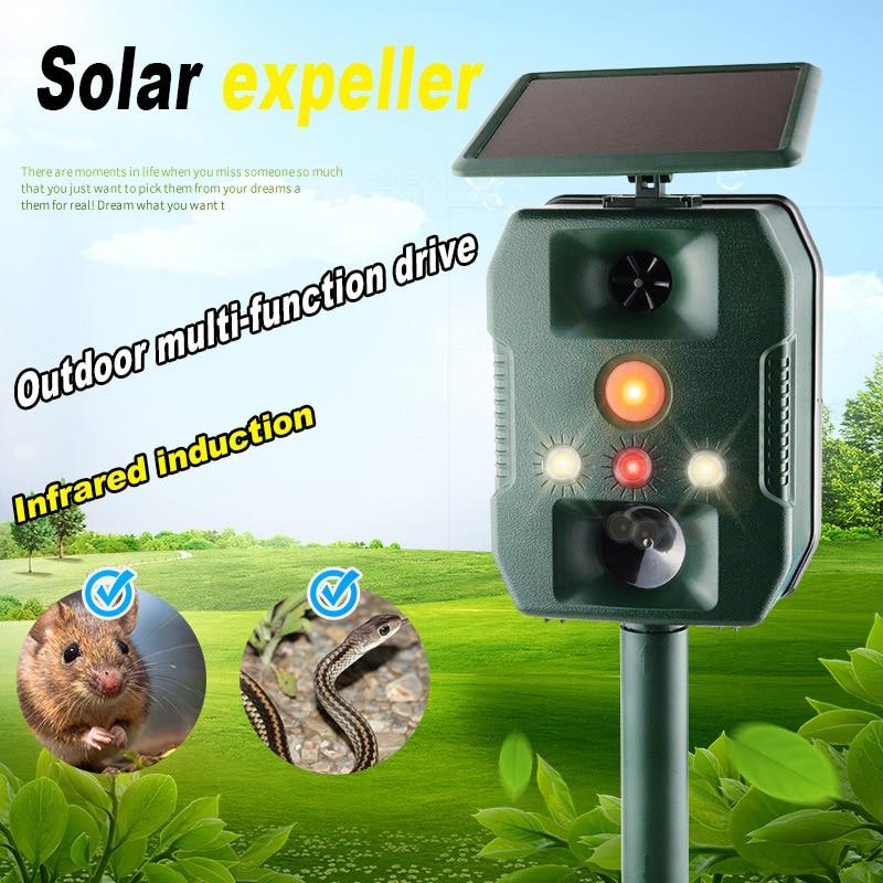 Outdoor Animal Repeller Solar Powered Motion Sensor Garden Flash Light Dog Cat Raccoon Rabbit Animal Dispeller Keep Animals Away
