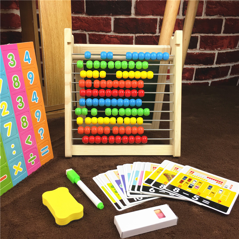 Children Wooden Early Education Ten Stalls Calculation Frame Double-Sided Magnetic Drawing Board Multi-functional Educational Fo