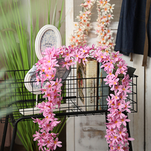 yumai 200cm Hydrangea Artificial Flowers Vine Silk Cherry Blossom Strings Pink Purple Wisteria Flower Rattan