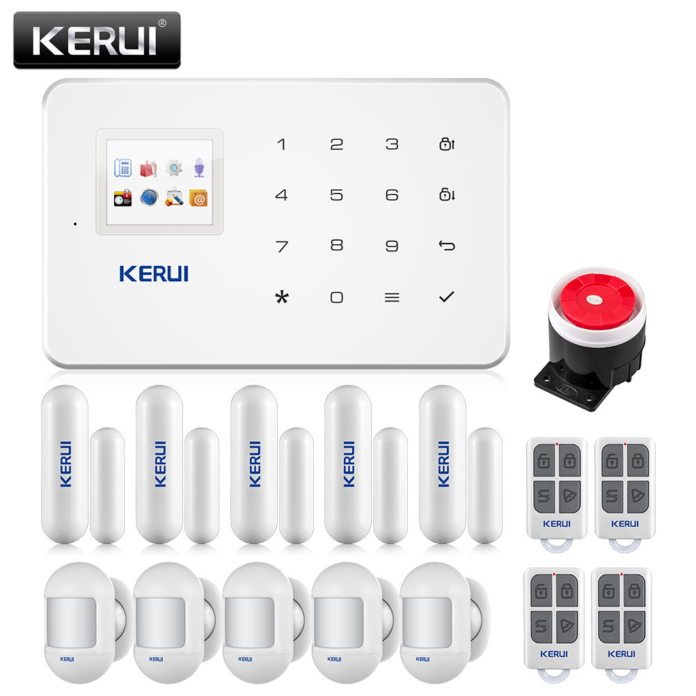 KERUI Wireless GSM Home Security Burglar Alarm System IOS Android Phone APP Remote Control With Mini Sensor image