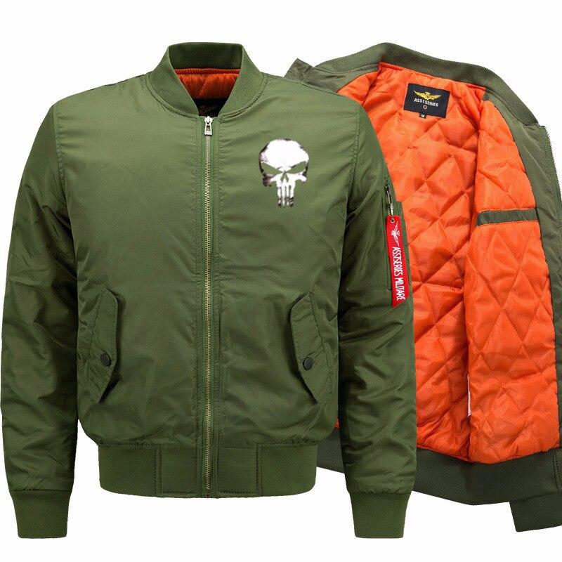 Men Hip Hop Streatwear Coat Men Skull Over Coats Plus Size S-9XL Winter Plush Padded Warm Slim Fit Military Pilot Air Jackets