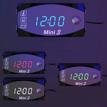 Mini 3-in-1 Motorcycle Digital Air Temperature & Time Clock & DC 12V Voltmeter Voltage Meter LED Display Meters Voltmeter Clock brand new 2 in 1 car 12v universal red green dual display led dual digital thermometer temperature meter voltmeter