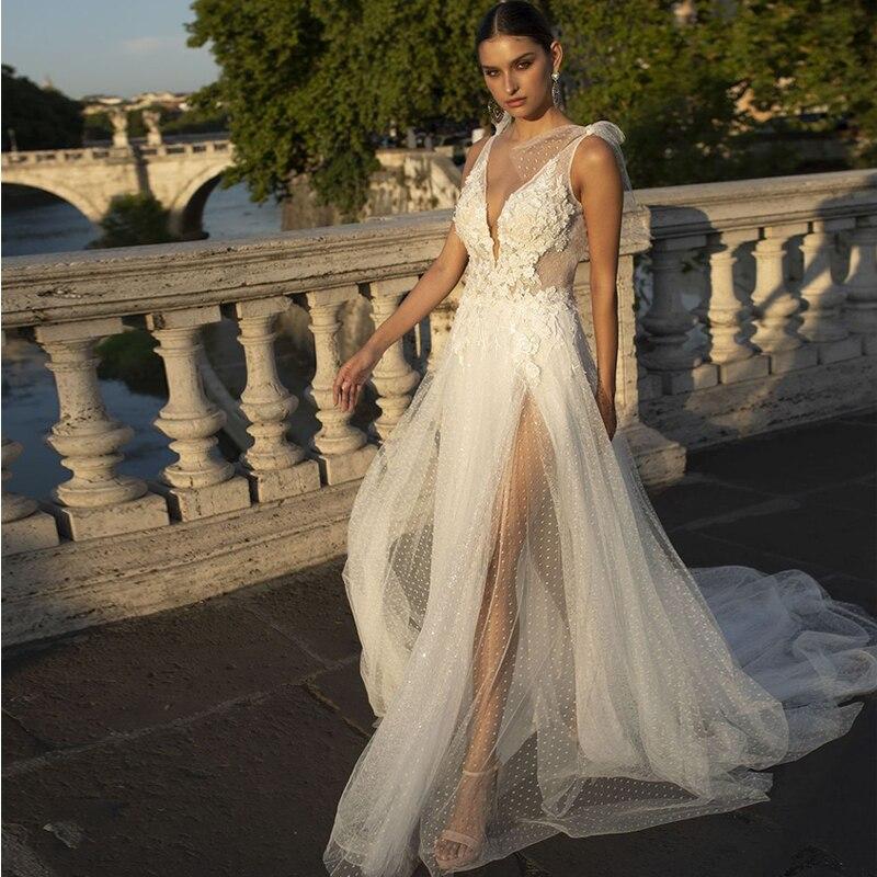Verngo Boho Wedding Dress Lace Appliques Wedding Dresses Point Tulle Backless Bride Dress Elegant Wedding Gowns Vestido De Novia