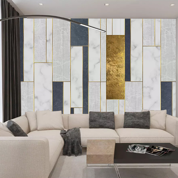 Retro 3D Mediterranean Faux Marble Geometry Background Wallpaper Library Coffee Restaurant Hairdressing Clothing Hotel Wallpaper