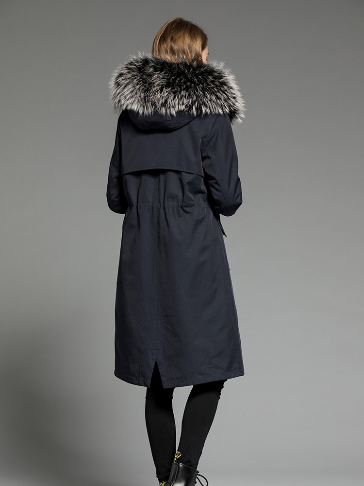 Fur Real Parka Natural Rabbit Fur Liner Long Trench Coat 2020 Winter Jacket Women Raccoon Fur Collar Luxury Parkas MY S