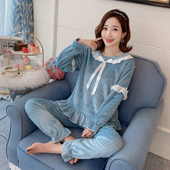 Ropa de hogar para Mujer, Pijamas de franela para Mujer, conjunto de ropa de dormir de Invierno, Pizama Damska, Pijamas de Invierno para Mujer, Pijamas cálidos