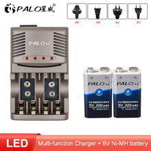 PALO 9v 6F22 300mAh Ni-MH NiMH 9 Volt Rechargeable Batteries + Charger For 6F22 9V NiCd NiMh Li-ion Rechargeable Batteries