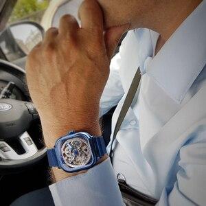 Image 5 - Forsining Blau Uhren Für Herren Automatische Mechanische Mode Kleid Platz Skeleton Armbanduhr Dünne Mesh Stahl Band Analog Uhr