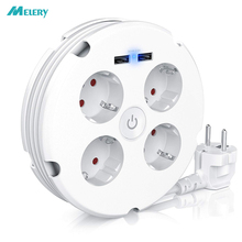 Multiple Power Strip Electric Sockets 4 way Round 2 USB Charger Switch Outlets Illuminated Wall Mounting Circular Roll up Cable