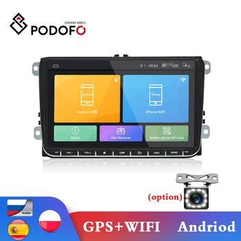 Podofo Car Radio Android 2 Din GPS Car Stereo Radio 9'' Touch Screen FM Car MP5 Player with Bluetooth WIFI Radio Receiver for VW image