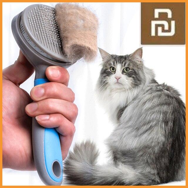 Youpin pet gato escova de remoção do cabelo pente pet grooming ferramentas cabelo derramamento trimmer pente para gatos