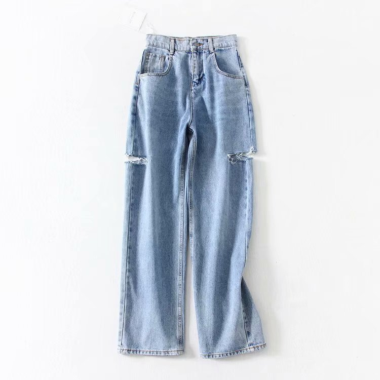 Lugentolo Jeans Woman Spring And Autumn New Fashion Washed Holes Button Fly Pockets Straight