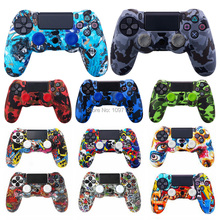 PS4 Camouflage Silicone Skin Protective Case чехол Cover for Sony Playstation 4 Controller for Dualshock 4 Slim Pro Gamepad