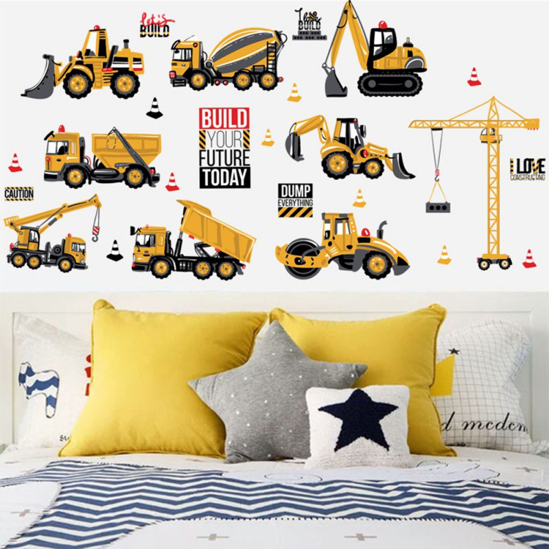 NewCartoon Trucks Tractors Cars Wall Stickers Kids Rooms Vehicles Wall Decals Art Poster Photo Wallpaper Home Decor Mural Decal