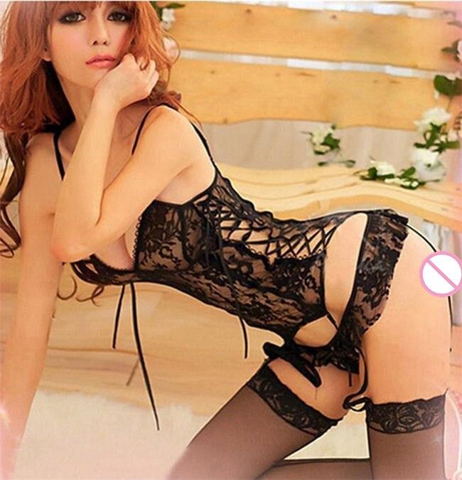 2019 femmes dames Sexy dentelle Lingerie vêtements de nuit sous-vêtements costumes érotique lingerie ensemble de vêtements + jarretière + string