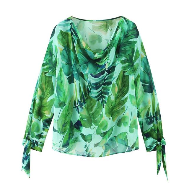 2020 Chic Green Rain forest Leaves Print Chiffon Shirt Women High Waist Long Skirt Long Sleeve Blouse Holiday 2 Pieces Set