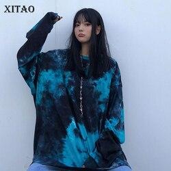XITAO Trend Irregular Tie-dye Sweatshirt Streetwear Hip Hop Harajuku Style Tops Women Loose Plus Size Clothes Spring DMY3045