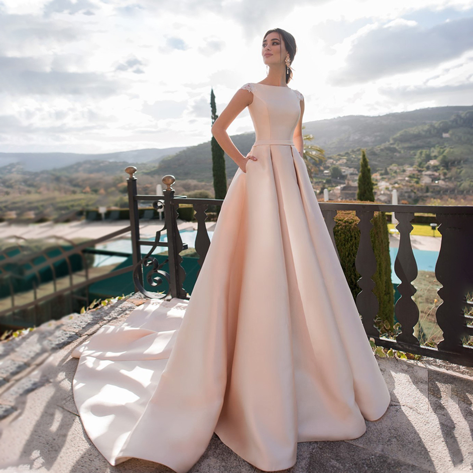 Pink Wedding Dresses 2020 Satin Lace Appliques Vestido De Noiva Short Sleeves Party Dress With Pockets Back Button Wedding Gown