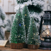 2019 Xmas New Year Artificial Mini DIY Christmas Tree with LED Light Faux Pine Tree Ornament Gifts for Home Desktop Decoration