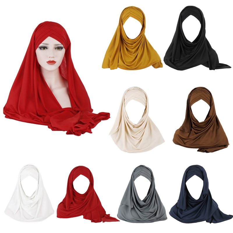 Women Milk Filer Solid Color 2 In 1 Turban Hat Instant Scarf Malaysia Muslim Cross Pleated Hijab Cap Head Wrap Cover|Women