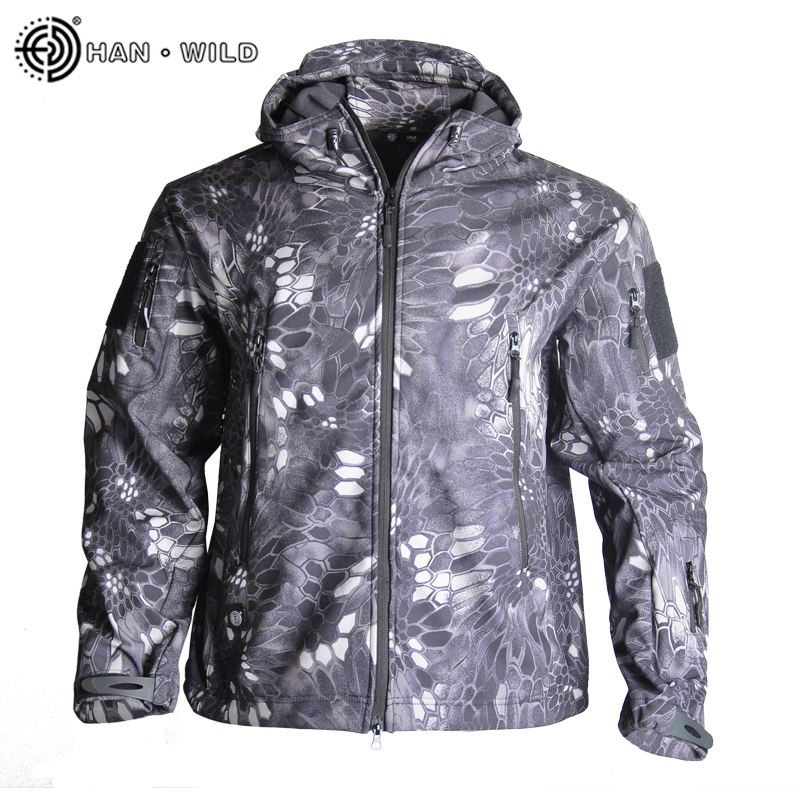 HAN WILD Military Tactical Jacket Shark Skin Hunting Jackets Shell Men Windbreakers Waterproof Fleece Clothing Multicam Coat