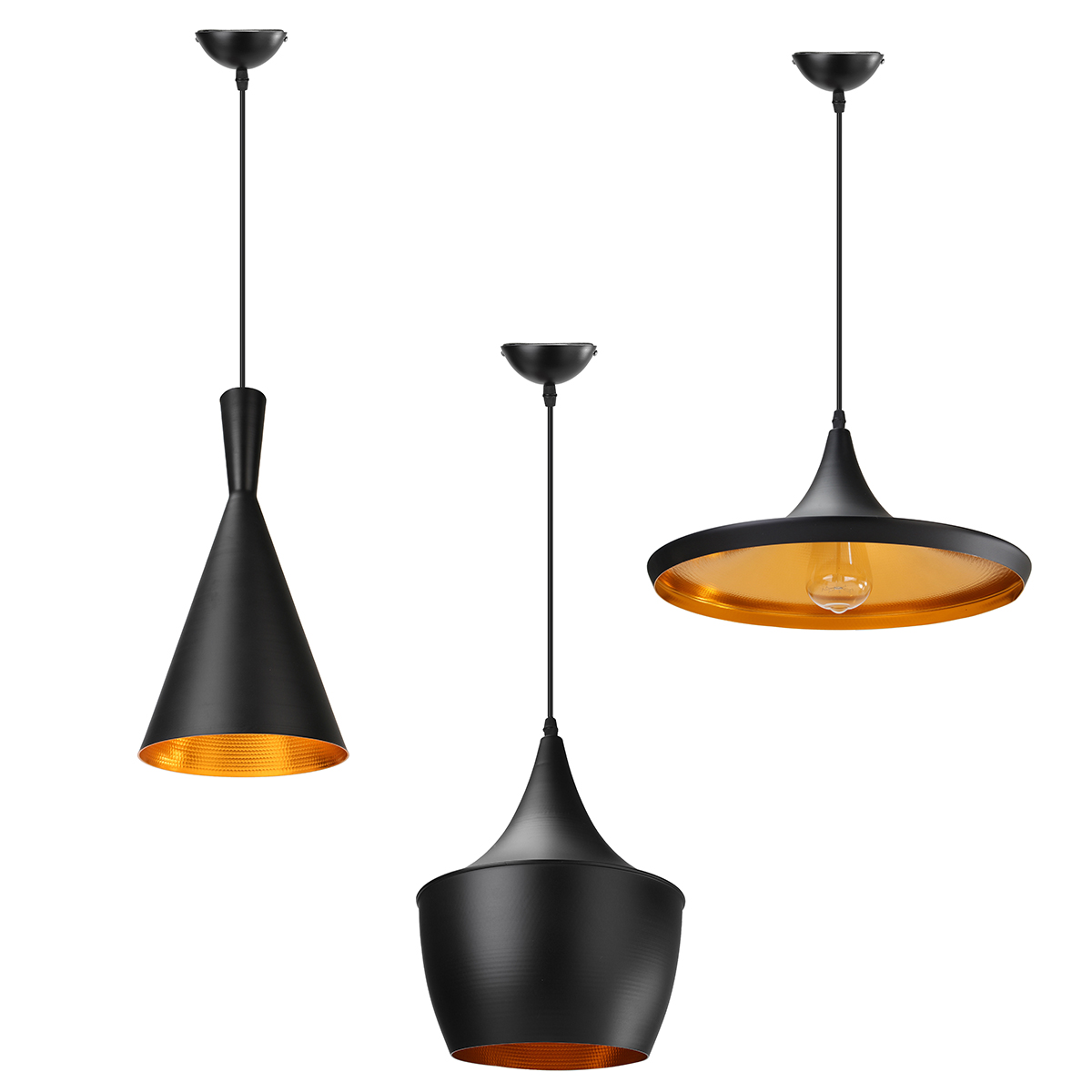 3 Style Vintage Retro Horn Shape Light Hanging Single Chandelier Lamp Creatives Lighting Restaurant Bar Bedrooms Hanging Lamps