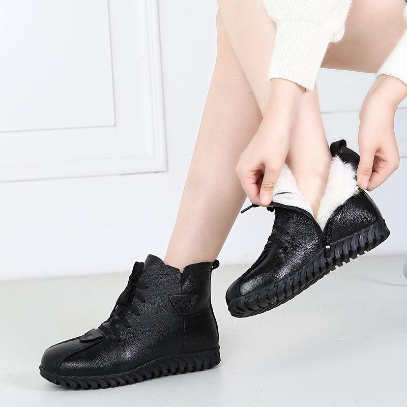 Image 4 - DRKANOL/2019 г.; женские зимние ботинки; зимняя теплая обувь; ботильоны для женщин из натуральной кожи на толстой шерсти; меховые ботинки на плоской подошве; женские ботинки-in Теплые сапоги from Обувь